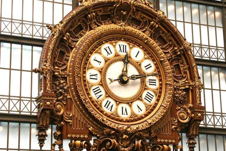 Large ornate railway clock in Musee d\\\\'Orsay in Paris