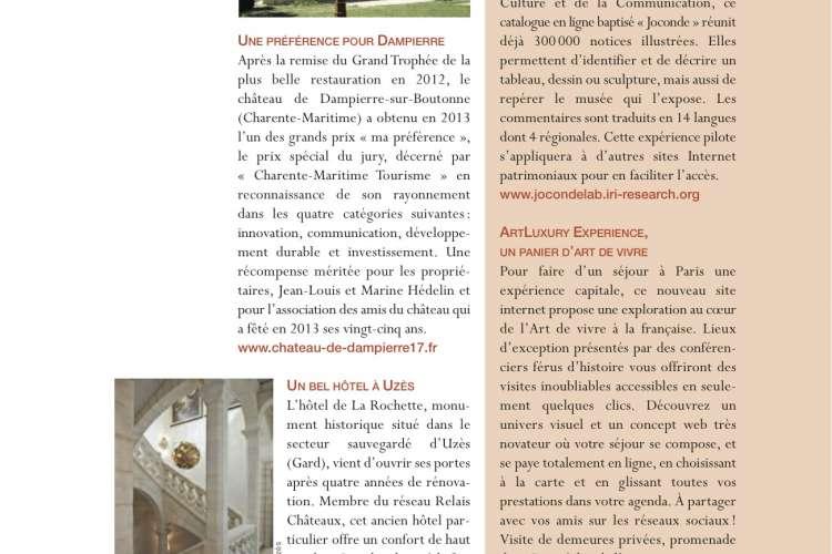 """Quarterly issue (#192) of """"La Demeure Historique"""" Magazine : """"ArtLuxury Experience, un panier d'Art de Vivre"""""""