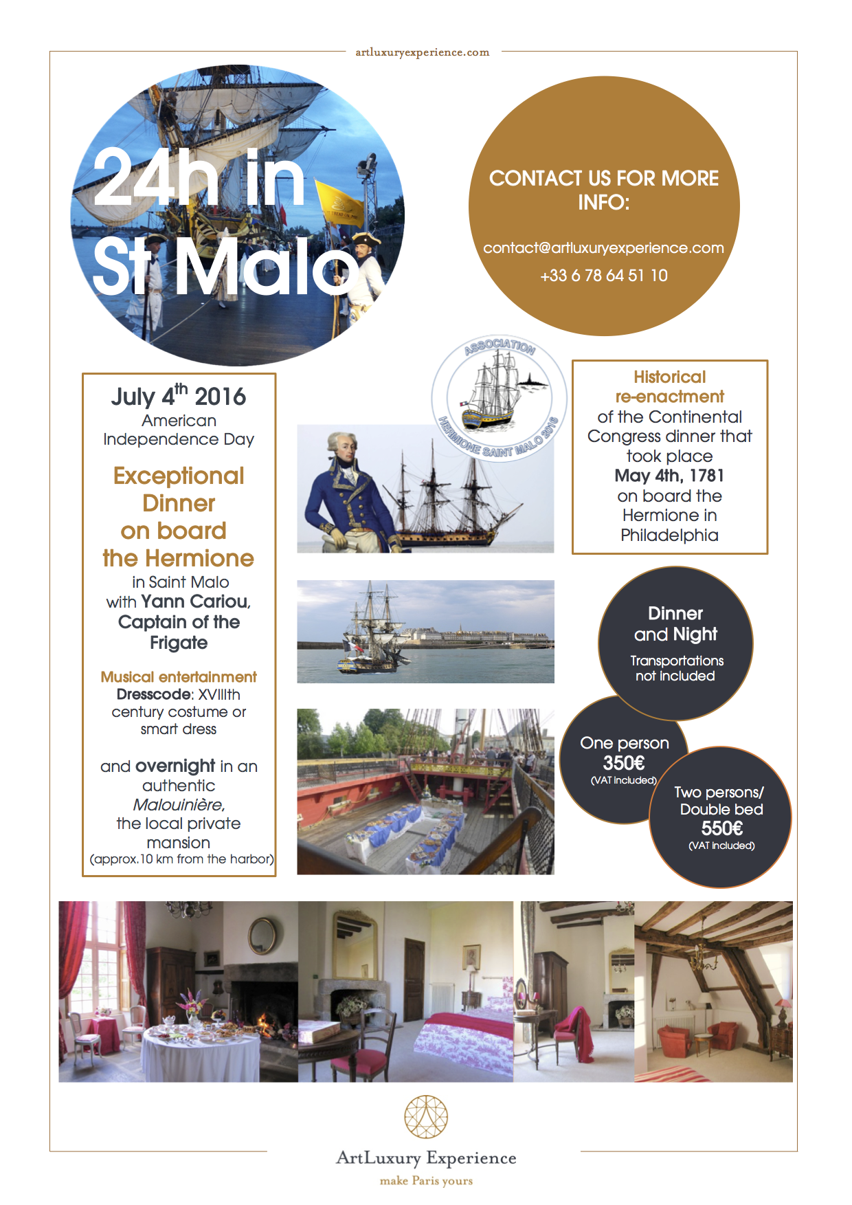 Invitation Saint Malo Lafayette Hermione Independence day Diner exceptionnel